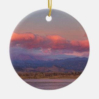 Colorado Front Range Longs Peak Full Moon Sunrise Ceramic Ornament