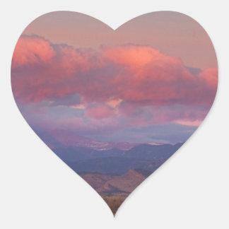 Colorado Front Range Longs Peak Full Moon Sunrise Heart Sticker