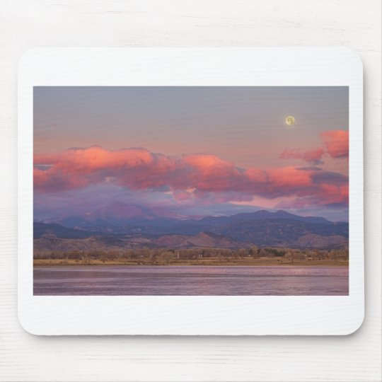 Colorado Front Range Longs Peak Full Moon Sunrise Mouse Pad