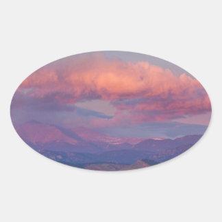 Colorado Front Range Longs Peak Full Moon Sunrise Oval Sticker