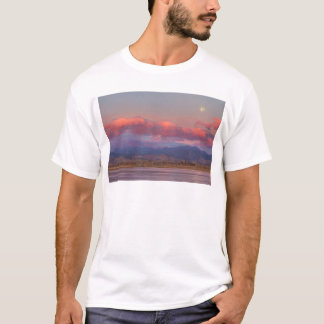 Colorado Front Range Longs Peak Full Moon Sunrise T-Shirt