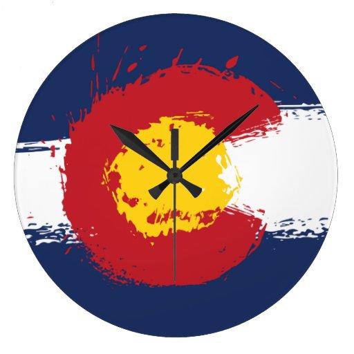 Colorado Grunge Flag Clocks