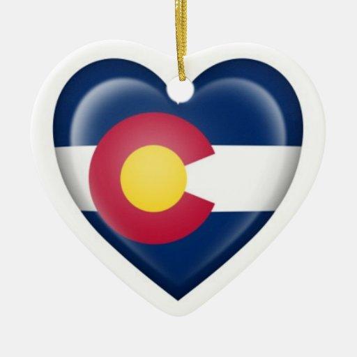 Colorado Heart Flag on White Ornaments