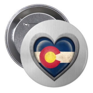 Colorado Heart Flag Stainless Steel Effect Pinback Buttons