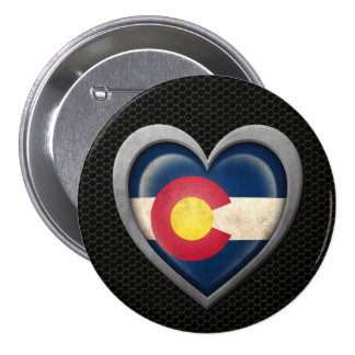 Colorado Heart Flag Steel Mesh Effect Pinback Buttons