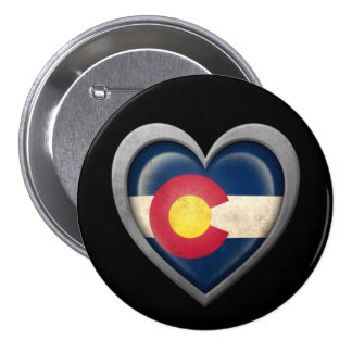 Colorado Heart Flag with Metal Effect Pinback Button
