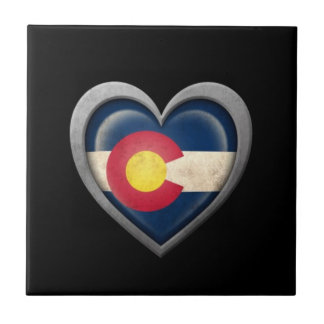 Colorado Heart Flag with Metal Effect Ceramic Tile