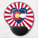 Colorado Heart Flag with Star Burst Gel Mouse Mats
