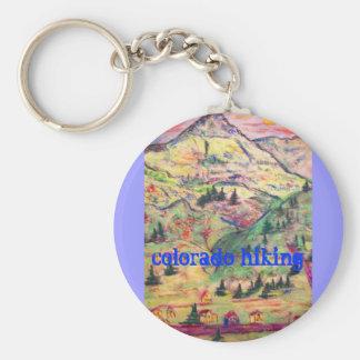 colorado hiking basic round button keychain