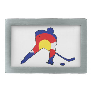 Colorado Hockey Player Rectangular Belt Buckle