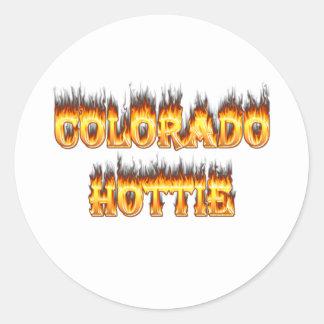 Colorado Hottie Fire And falesm Classic Round Sticker