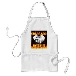 Colorado hottie fire and flames design. adult apron