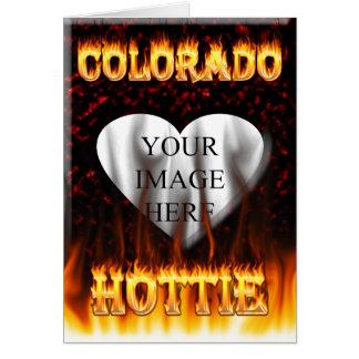 Colorado hottie fire and flames design. card