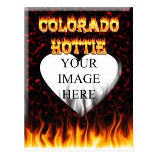 Colorado hottie fire and flames design. postcard