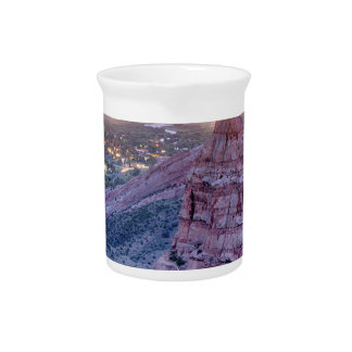 Colorado Independence Monument and City Lights Of Beverage Pitcher