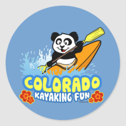 Round Sticker with Colorado Kayaking Fun design