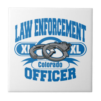 Colorado Law Enforcement Officer Handcuffs Ceramic Tile
