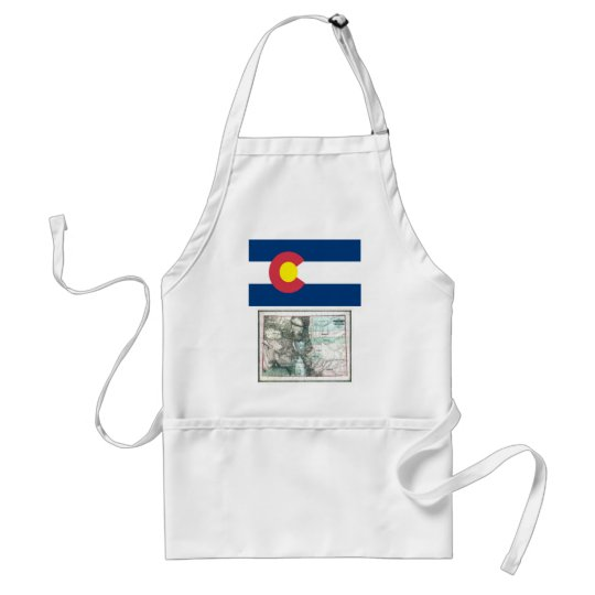 Colorado Map and State Flag Adult Apron