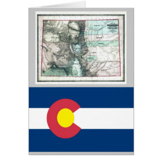 Colorado Map and State Flag Card