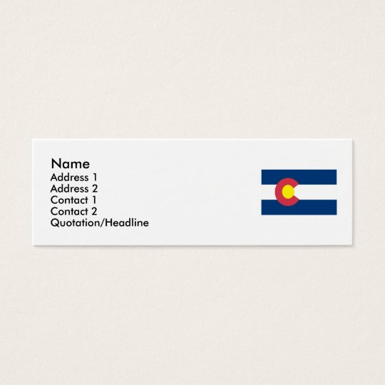 Colorado Map and State Flag Mini Business Card
