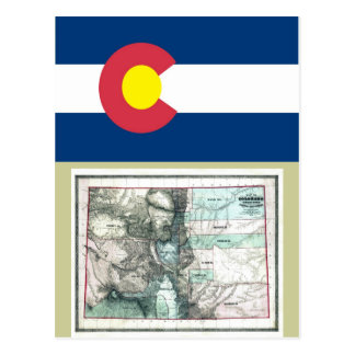 Colorado Map and State Flag Postcard