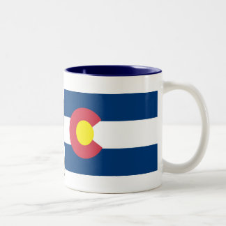 Colorado Map and State Flag Two-Tone Coffee Mug