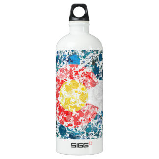 Colorado map flag painting aluminum water bottle