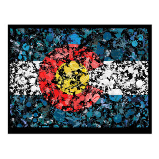 Colorado map flag painting postcard