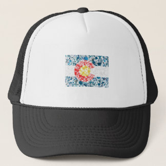 Colorado map flag painting trucker hat
