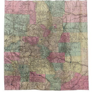 Colorado Map with Cities (1884) Shower Curtain