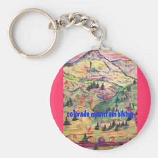 colorado mountain biking basic round button keychain