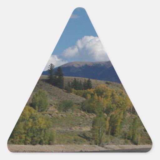 Colorado Mountain Fall Scene Triangle Sticker