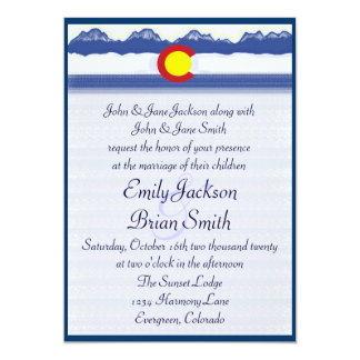Colorado mountain flag custom wedding invitations