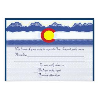 Colorado mountain flag custom wedding RSVP cards