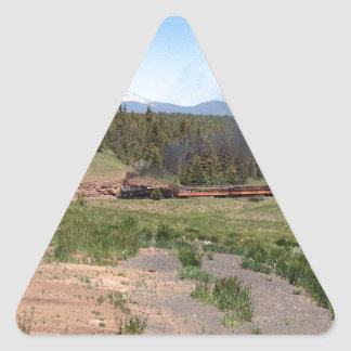 Colorado Mountain Steam Engine Train Triangle Sticker