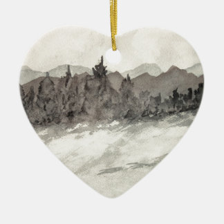 Colorado Mountain with snow Ceramic Ornament