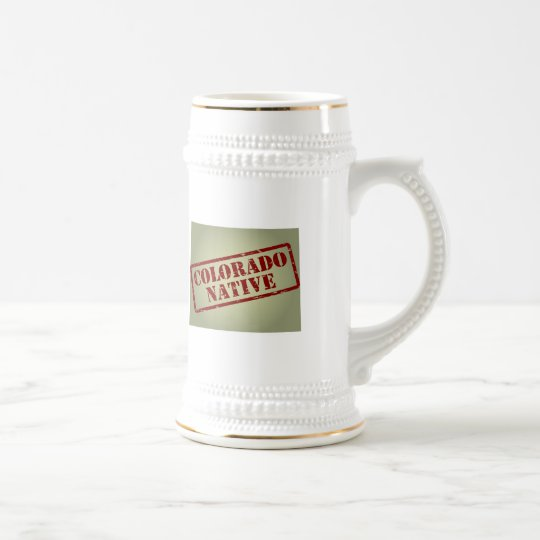 Colorado Native Stamped on Map Beer Stein