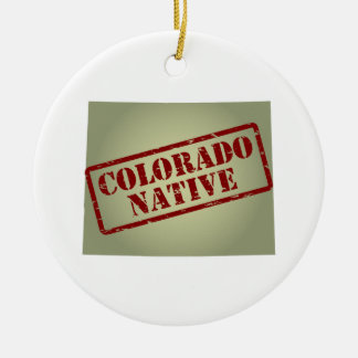 Colorado Native Stamped on Map Christmas Ornament