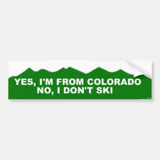 Colorado No, I Don't Ski Bumper Sticker
