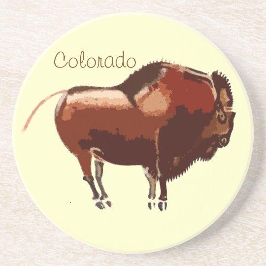 Colorado Painted Bison Sandstone Coaster