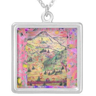 colorado pastel town drip square pendant necklace