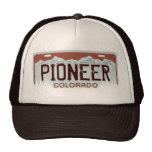 Colorado Pioneer brown theme license plate hat