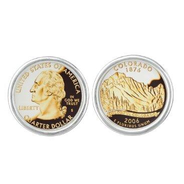 USA Themed Colorado Proof Gold State Quarters Cufflinks