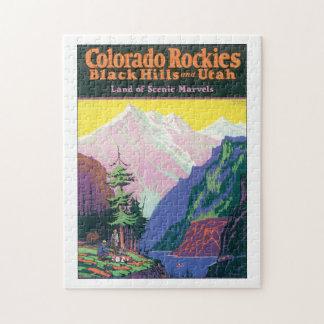 Colorado Rockies Vintage Travel Poster Artwork. Jigsaw Puzzle