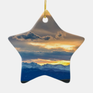 Colorado Rocky Mountain Front Range Sunset Gold Ceramic Ornament