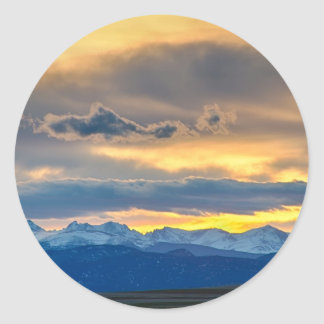 Colorado Rocky Mountain Front Range Sunset Gold Classic Round Sticker