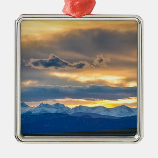 Colorado Rocky Mountain Front Range Sunset Gold Metal Ornament