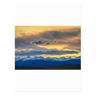 Colorado Rocky Mountain Front Range Sunset Gold Postcard