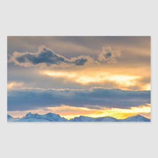 Colorado Rocky Mountain Front Range Sunset Gold Rectangular Sticker