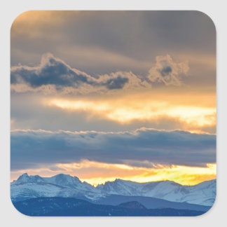 Colorado Rocky Mountain Front Range Sunset Gold Square Sticker